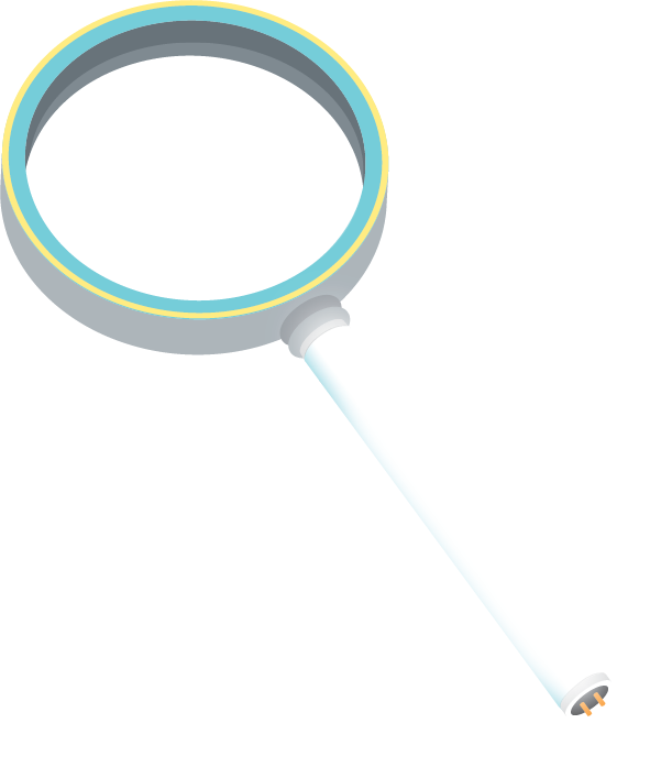 Illustration of a magnifying glass turning into a linear LED bulb.
