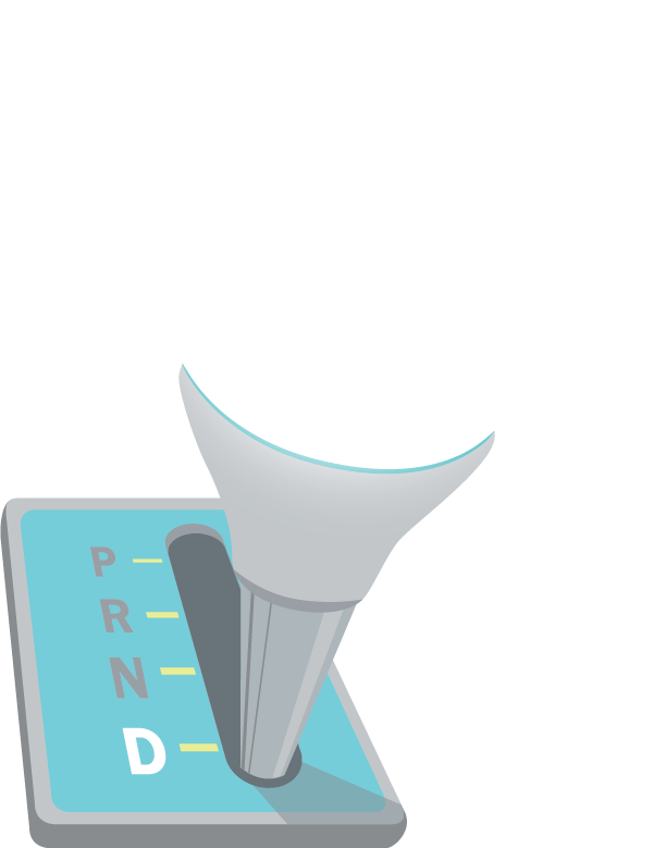 Illustration of an automatic shifter turning into a LED bulb.