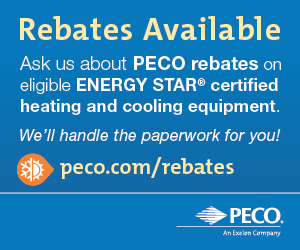 Rebates Available. Ask us about PECO rebates on eligible ENERGY STAR® certified heating and cooling equipment. We'll handle the paperwork.