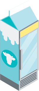 Illustration of a milk carton turning into a glass door refrigerator.