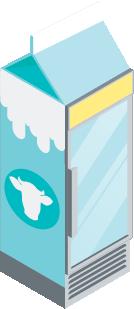 Illustration of a milk carton turning into a glass door refrigerator.