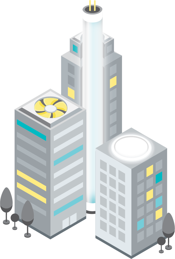 Illustration of a buildings that are also energy efficient products.