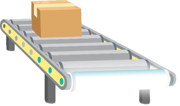 Illustration of a conveyor belt turning into a linear LED bulb